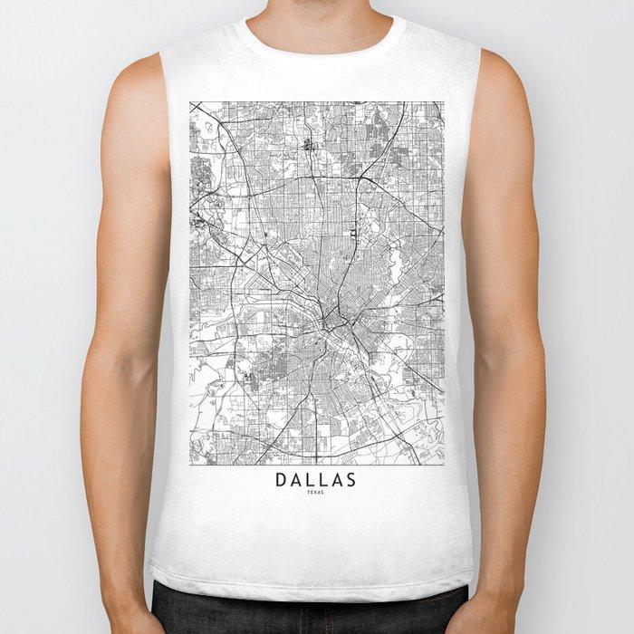 Dallas White Map Biker Tank