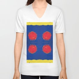 Red dots & yellow square Unisex V-Neck