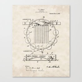 Tambourine Vintage Patent Hand Drawing Canvas Print