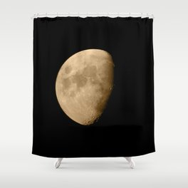 4K Dark Side of the Moon Golden Yellow Shower Curtain