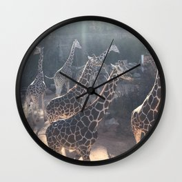 Giraffe National Park // Spotted Long Neck Graceful Creatures in Wildlife Preserve Wall Clock