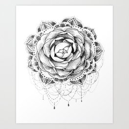 Camellia Dotwork Mandala Art Print