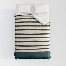 Dark Teal x Stripes Comforters