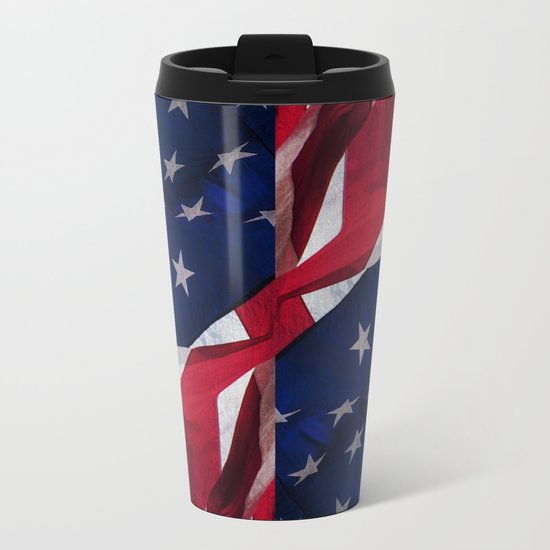 RED, WHITE AND BLUE Metal Travel Mug