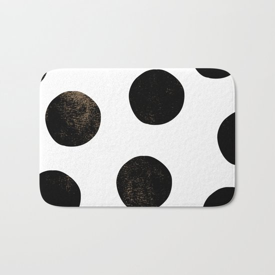 Black Polka Dots Bath Mat