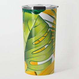 Tropical leaves decor bananas print forest interior palm Travel Mug