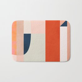 shapes modern mid-century peach pink coral mint Bath Mat