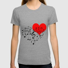 The Singing Heart. Black On White. Simple And Chic Conceptual Design T-shirt
