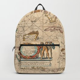 Vintage Map of The Caribbean (1672) Backpack