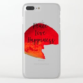 Peace Love Happiness Clear iPhone Case