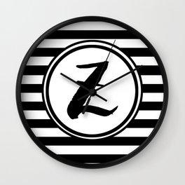 Z Striped Monogram Letter Wall Clock