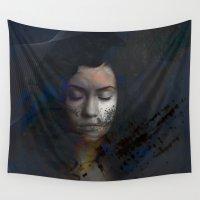 sleeping beauty Wall Tapestries featuring Beauty Sleeping by Eda ERKOVAN