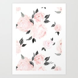 Vintage Blush Floral - BW Art Print