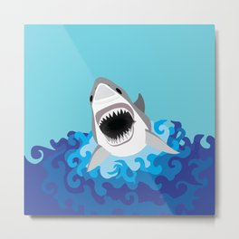 Great White Shark Attack Metal Print