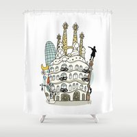barcelona Shower Curtains featuring Barcelona by Jaume Tenes