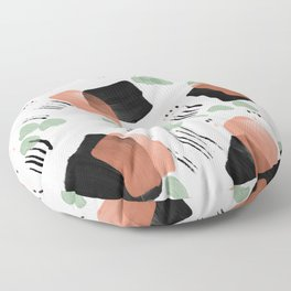 Brushes and squiggles in coral black and green Floor Pillow