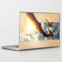 neil gaiman Laptop & iPad Skins featuring Pterodactyl Coming back to Life by Neil Price by Neil Price