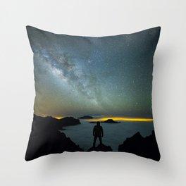 Milky way man Throw Pillow