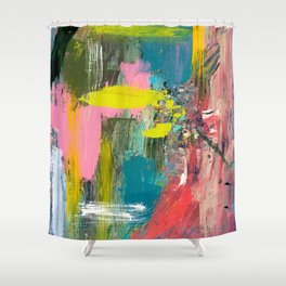 Collision - a bright abstract with pinks, greens, blues, and yellow Shower Curtain