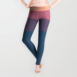 Geometrical orange pink violet blue minimalist stripes Leggings