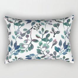 Jade and Succulent Watercolor Plant Pattern Rectangular Pillow