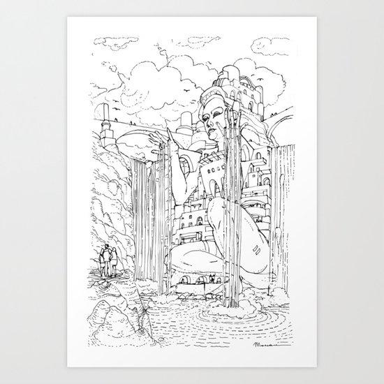 La Citta' sulla Cascata Art Print