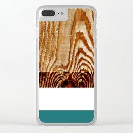 Wood Grain Print Clear iPhone Case