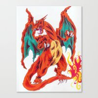 charizard Canvas Prints featuring Charizard by Megan