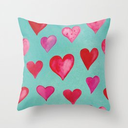 Romantic Watercolor Hearts - Pink -Turqouise Throw Pillow