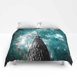 Wintry Trees Galaxy Skies Teal Comforters