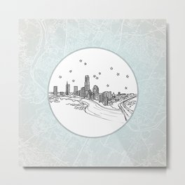 Austin, Texas City Skyline Illustration Drawing Metal Print