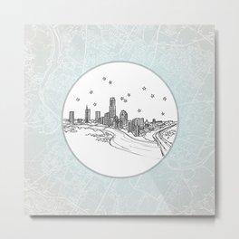 Austin, Texas City Skyline Illustration Drawing Metal Print
