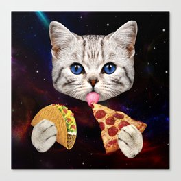 Space Cat with taco and pizza Canvas Print