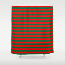 Horizontal Stripes, Christmas and Holiday Fantasy Collection Shower Curtain