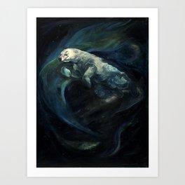 Polar Bear Swimming in Northern Lights Art Print