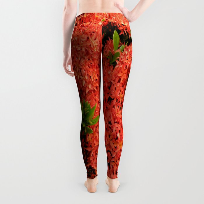 Tropical Orange Flowers Leggings