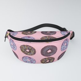 Top view to the donuts over pastel pink background Fanny Pack