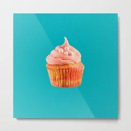 Cupcake Love | Pink & Pearls on Aqua Metal Print