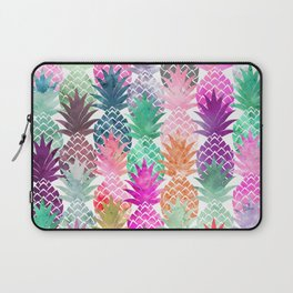 Bright exotic pineapples pastel watercolor pattern Laptop Sleeve