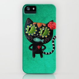 Black cat of the dead iPhone Case
