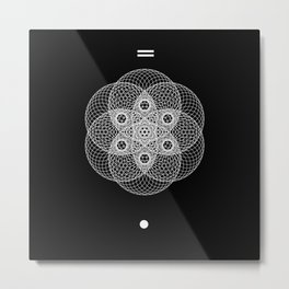 Mesh Geometry II Black Metal Print
