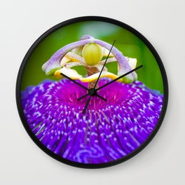 Macro Photography of Exotic Violet Flower Wall Clock
