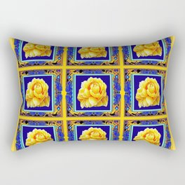 BLUE FRAMED YELLOW YELLOW GARDEN FLOWERS ART Rectangular Pillow