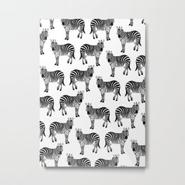 Zebra, Animal, Cute, Nursery, Kids, Minimal, Pattern, Modern art Metal Print