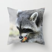 racoon Throw Pillows featuring Racoon 003 by jamfoto