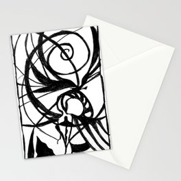 Girl entangled in spirals of dimensions, black and white print Stationery Cards