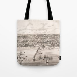 Vintage Pictorial Map of Buenos Aires Argentina (1850) Tote Bag