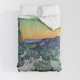 Couple Walking among Olive Trees, Vincent Van Gogh Comforters