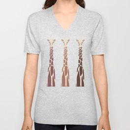Triple Giraffes Unisex V-Neck
