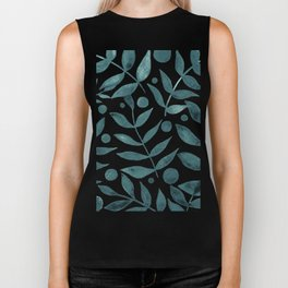 Watercolor berries and branches - teal grey Biker Tank